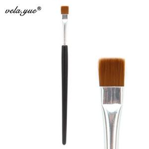 Venta al por mayor 10 unids / lote Flat Definer Brush Eyesiner Eyeliner herramienta de maquillaje de sombra de ojos negro marrón pelo sintético