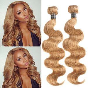 페루 블론드 번들 처리되지 않은 인간의 머리카락 위브 3 개 300g 브라질 페루 인디언 버진 헤어 바디 바디 웨이브 color 27 #, 99j