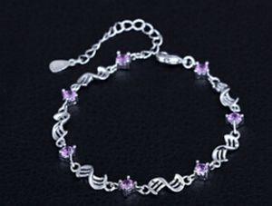 Amethyst Rhodium 925 Sterlingsilber Armband Frauen Armband DHL geben Verschiffen frei Heißer verkaufender meistverkaufter Schmucksachegroßverkauf