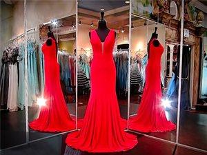 Красный Джерси форма установки платье выпускного вечера открытой спиной шифон Русалка глубокий V-образным вырезом длинное вечернее платье театрализованное платье