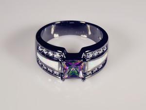 Anelli di opale di fuoco bianco fine moda all'ingrosso e anelli di opale zircone colorato 10KT oro nero riempito ROF1507003