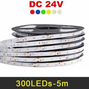 24V LED 스트립 5050 2835 5630 5m 300leds IP65 IP20 유연한 LED 빛 스트립 RGB 따뜻한 화이트 레드 블루 그린