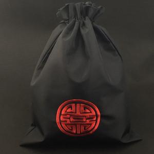 Scarpe cinesi ricamo fortunato Bag Sport Travel Bag portatile sacchetto di seta con coulisse pieghevole della copertura del pattino Custodia con allineati 27X36CM 10pcs