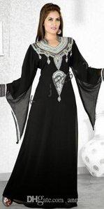 Черные Длинные Рукава Вечерние Платья Дубай Арабский Серебряный Бисером Блестки Кристаллы Мода Линия Женщины Вечерние Платья Мусульманский Греческий Стильный 2019