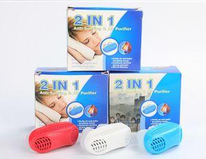 2-em-1 Snoring Parando Purificador De Ar Nariz Aparelho Respiratório Apnéia Guarda Auxiliar Dormir Dispositivo De Cessação Ronco Silicone + ABS Anti Ronco