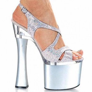 Customize Sex 18cm High-heeled Sandals Square Shoes Crystal Model Shoes High-heeled Gladiator Shoes Ankle Strap D0207