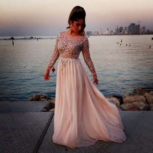 2019 neue Elie Saab A Line Scoop Langarm Abendkleid bodenlangen Chiffon Abendkleider Kristall Perlen Festzug Kleid