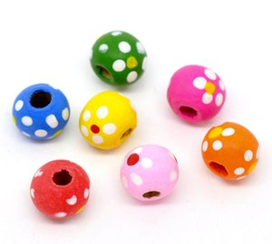 DY33 New 300pcs Mixed Multicolor Dot Round Wood Beads 10x9mm Fit DIY Free Shipping Loose Beads