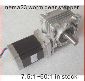 Motor paso a paso del engranaje de gusano NEMA23 motor 250oz-in Longitud del motor 76mm CE ROHS Nema 23 Motor reductor de tornillo sin fin del motor de paso
