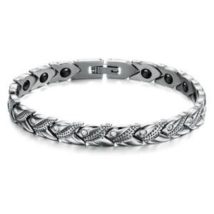 2016 NOUVELLE Mode 316L Titanium Acier D'énergie Magnétique Pierre Soins de Santé Bracelets Pour Hommes Brillant Cristal Drill Bijoux GS3347