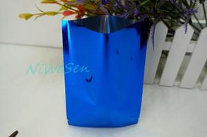 200 adet / paket üst açık yapışmalı aluminize mylar paketi yüz maskesi ping plastik kılıfı, 9x13 cm mavi alüminyum kaplama düz cebi
