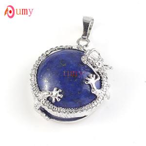 Vendita all'ingrosso 10 pezzi argento placcato Dragon Wrap lapislazzuli blu turchese mezza palla perlina gioielli fascino vintage pendente
