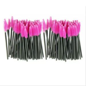 Attraktive 100pcs / lot bilden Großhandelsbürste rosafarbene synthetische Faser einmalige Wegwerfwimper-Bürsten-Wimperntuschen-Applikator-Stab-Bürste