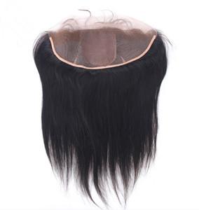 Base de soie brésilienne dentelle frontale 13x4 vierge de soie de cheveux humains soie droite Top de soie dentelle frontale pièces de fermeture avec des cheveux de bébé blanchis noeuds