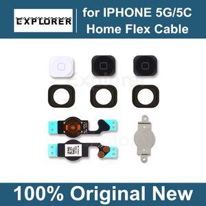Botão Menu Home Chave Cap Flex Suporte Cabo Titular Set Assembléia para iPhone 5 5G 5C Black White peça de reposição
