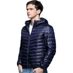 Hombres chaqueta de pato con capucha 90% Abajo Contentultra Ultra Light Winter Abrigo de invierno sólido Manga larga Portátil Outwear Primavera