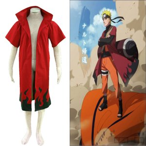 Popular Anime Naruto Hokage Naruto Uzumaki the Sixth Generation Cloak Cospaly Costume Coat Red Trench Free Shipping