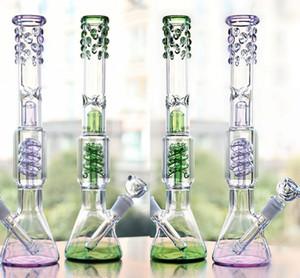 2020 Verre Long Green Bongs en verre épais nid d'abeille Deux fumant la pipe Fonctions Recyler gros Bongs en verre Nouveau Arrivée