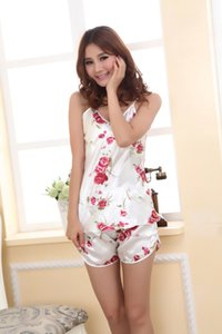 Sexy Pyjamas Mit Spitze Baumwolle Gurt Weste und Shorts Pyjama Femme Floral Fashion Nachthemd Nachtwäsche Frauen Homewear