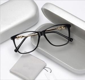 pérola grande-frame espelho plano temperamental e o estilo feminino dos óculos de miopia lado artístico feminino