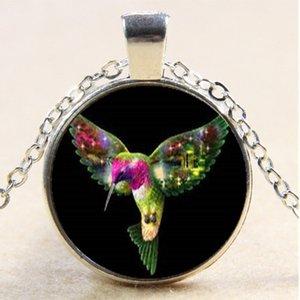 10pcs colibrí collar de aves, regalos, collar de cristal cabujón plata / bronce / colgante negro, collar de cadena, joyería de moda