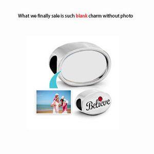 Özelleştirilmiş boş Oval fotoğraf boncuk Metal Slider Inanıyorum umut aşk Avrupa Charms Fit Pandora Chamilia Biagi Bilezik