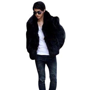 Otoño-2016 para hombre de moda Solid Vetement Homme Faux Fox Fur Coat Casual Chaqueta de abrigo Outwear Otoño Invierno estilo más el tamaño L-3XL