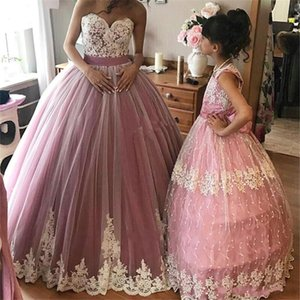 2018 New Dusky Pink Ball Gown Girls Pageant Dresses Sweetheart Appliques in pizzo bianco Tulle Puffy Party Gown Flower Girls Dresses