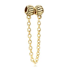 Damenschmuck Gold plattiert Europäische Perlen Sicherheitskette Metall Link Charm Armband für Pandora alle Marken