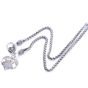 Drop доставка новое прибытие родием цинк шипованных с игристые кристаллы танец сердца кулон пшеницы цепи ожерелье