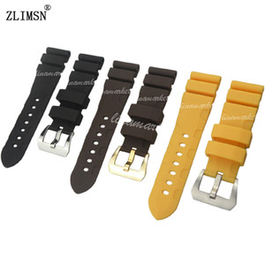 24mm Silicone Rubber Watch BAND NEW Men Black Diving Strap With Pin Buckle