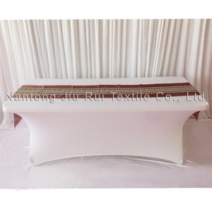 2016 New Fashion 35cm*250cm Brown Color Lace And Satin Table Runner 2PCS A Lot Free Shipping