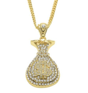 Hip Hop Necklace Gold Plated Silver Money Bag Dollar water Diamond Pendant Cuban Chain