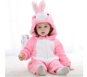 Hot New Baby Romper Girl Clothes Cotton Flannel Quilted Jumpsuit Cartoon Cute Rabbit Animal Rompers Baby Clothing (Pink) JY0526