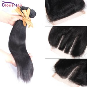 Erstaunliche freie mittlere drei Teil gerade Jungfrau brasilianische Top Lace Closure mit 3 Bundles Menschenhaar spinnt billige Brazillian Straight Weft