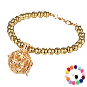 Aromaterapia Diffusore Bracciale Moda Nuovo Oro Argento Oli essenziali Aromaterapia Bracciale medaglione con pietra lavica Bracciali con perline
