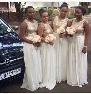 Gold Sequins Bridesmaid Dresses 2019 Scoop Neck Sleeveless Plus Size Cheap Chiffon Women Formal Dress For Weddings