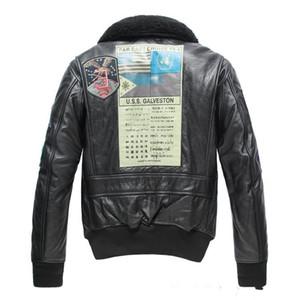 Черный AVIREXFLY мужчины подлинной кожаные куртки Усс WILLAMM STANDLE полета люди avirex мужская кожаная куртка