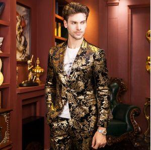 Senior designer gold print suit 2016 high quality fashion golden coat Brand wedding suit Cultivate one's morality men's autumn winter jacket