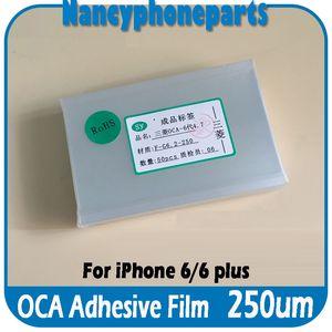 250um OCA Sticker Filmi Optik Temizle Yapıştırıcı Tutkal iPhone 5 5 S 6 Artı LCD Dış Cam Onarım 50 Adet / grup