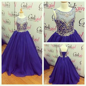 2021 Girls Pageant Vestidos Royal Blue Tamanho com Lace Up e Jewel Neck Real Fotos Beading Chiffon Little Girls Vestidos de formatura