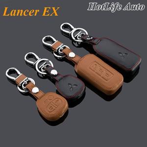 2014 Mitsubishi Lancer EX Lancer Carro Keychain Leather Key Fob caso capa para 2004- 2014 2015 Lancer EX Chaveiro Acessórios Car