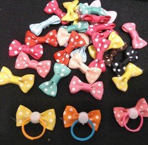 Pet Grooming Accessories Fai da te Hair Bows Dog Rubber Bands Mini bow accessories 1.5 * 3cm fiori fiori di perle regalo haripin cani clip di capelli