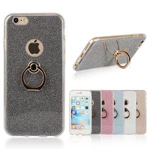 Atacado! Nova Proteção Shell Titular Capa Glitter Phone Ring Finger Buckle Bracket Kickstand Escudo Caso Para iPhone 8 6 6 s 7 plus