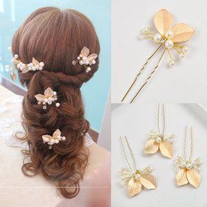 4 STÜCKE Hochzeit Zubehör Goldene Braut Perle Haarnadeln Blume Kristall Strass Haarnadeln Clips Brautjungfer Frauen Haarschmuck clippin