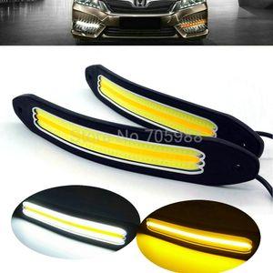 Nuovo arrivo flessibile Impermeabile bianco e giallo Car Head Light COB LED Daytime Running Lights DRL Fendinebbia con indicatore di direzione