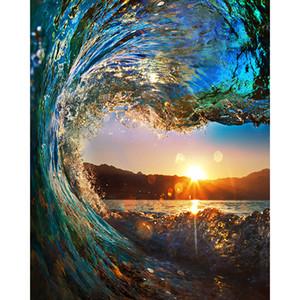 Sunset Wave Seascape 5D DIY Mosaico Costura Bordado Pintura Diamante de punto de Cruz Kit de Arte de La Pared Casa Colgando Decoración