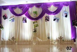 3 * 6m Boda Swags cortinas Fiesta de fondo Celebración de fondo Antecedentes Satén Cortina Cortina Techo Telón de fondo Matrimonio decoración velo WT016