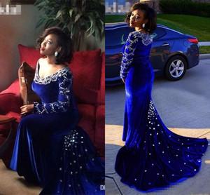 2020 Abendkleider New Günstige Royal Blue Velvet mit runden Halsausschnitt mit langen Ärmeln wulstiger Nixe plus Größe formalen Partei-Kleid Abendkleider