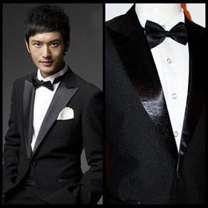 Customized One Bouton pour Hommes Haute Qualité Groom Tuxedos Mens Hommes Bridegroom Costudes (Veste + Pantalon + Bow + Girle) Vérifications de vraies photos